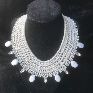 NWT bebe Collar Statement Necklace White Crystal